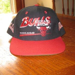Vtg Chicago Bulls Snapback Hat Cap Twins Adjustabl